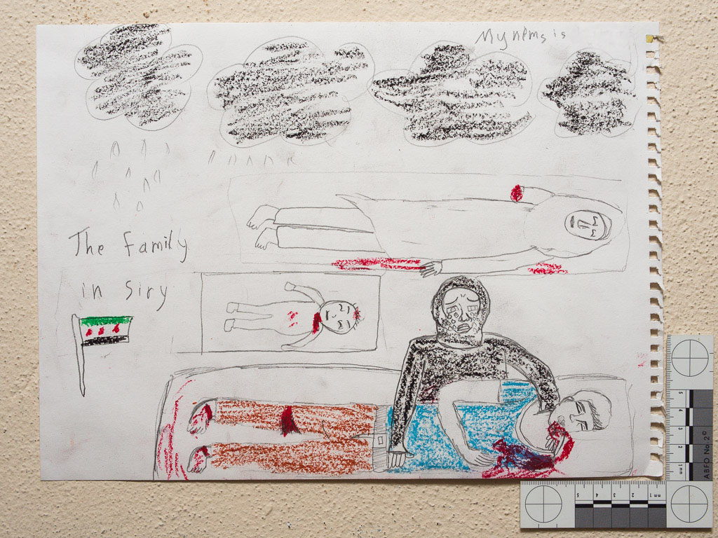 """""""Black clouds. A mother crying for her son, baby, and sister. She lost 3 family members."""" Drawing by Syrian girl."""